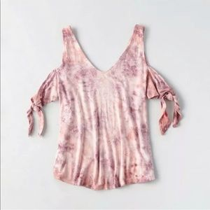 American Eagle Soft Sexy Tee Cold Shoulder Pink M
